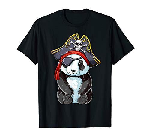 Panda Pirate T shirt Jolly Roger Flag Skull and Crossbones -