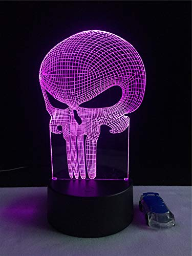 Lamp 3D Optical Illusion Table lamp Color-Changing Night Light Halloween Punisher Skull Baby Sleeping LED Light Remote Control Decorative Light Child's -