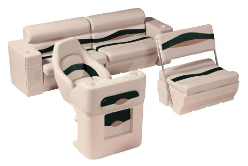 Seats Pontoon Rear Furniture (Wise Premier Pontoon Seats/Rear Group (Platinum/Platinum Punch Jade/Fawn))