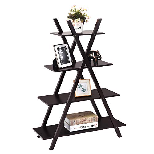 (Giantex 4 Tier Bookshelf Storage Shelves Bookcase Ladder Shelf Home Office X-Shape Potted Plant or Flower Rack Display Shelves Easy Assembly (Brown, 31.5