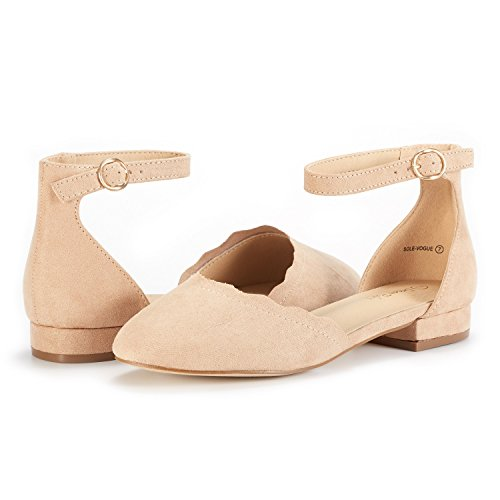 DREAM PAIRS Women's Sole_Vogue Nude Fashion Low Stacked Ankle Straps Flats Shoes Size 8 M US by DREAM PAIRS (Image #3)