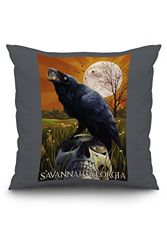 Raven and Moon - Savannah, GA (20x20 Spun Polyester Pillow, Custom Border)