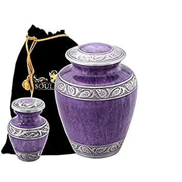 Funeral Urn by SoulUrns – Purple Marble Finish Cremation Urn with 2 Identical Keepsake Urns for Human Ashes – Display Burial Urn at Home – Combo Pack