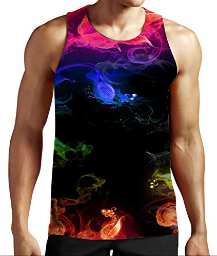 Young Juniors Casual Graphic Tank Tops Gay Pride Printing Bodybuilding Fitness Tees Summer Breathable Vest Shirts for Gay Pride Party L ()