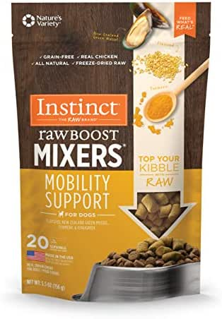 Instinct Freeze Dried Raw Boost Mixers Mobility Support Grain Free All Natural Dog Food Topper by Nature's Variety, 5.5 oz. Bag