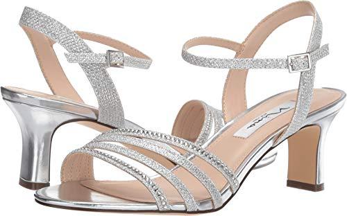 NINA FOOTWEAR Women's, Nelena Mid Heel Dressy Sandal, Silver, Size 7.5 from NINA