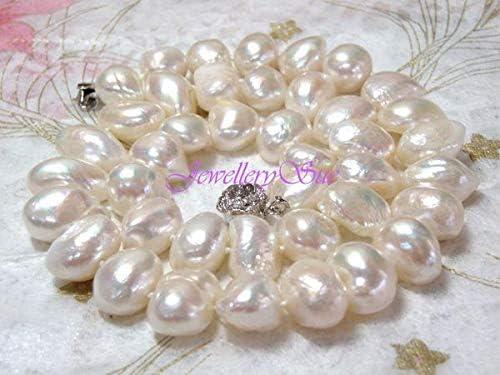 大粒9-10mm珍しい天然本真珠/バロックパールネックレス (ホワイト、ピンク、ブラック)