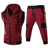 FRCOLT Men's Hooded Full Zips Up Self-Cultivation Sleeveless Vest+Pants Sports Set (M, Wine Red)