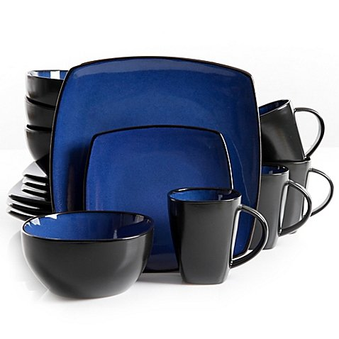 Gibson Home Amalfi 16-Piece Dinnerware Set in Blue - Home 16 Piece