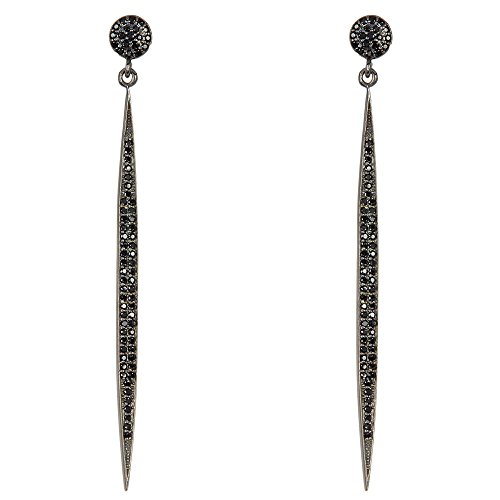 Black Spinel and Sterling Silver Melania Earrings