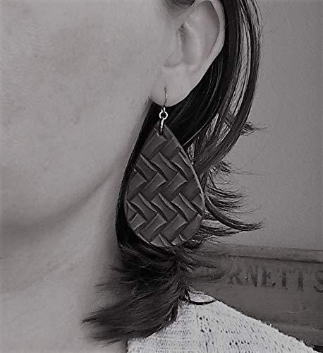 Dark Brown Woven Look Genuine Leather Teardrop Earrings for Women