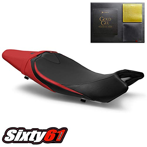 Luimoto Seat Cover for Suzuki SV650 2016-2019 with Gel Pad, Black, Gray and Red, Front, Carbon Fiber Look by Sixty61