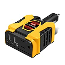 Car Power Inverter, [Ultra Compact] MoKo 100W DC 12V to 110V AC Converter Car Power Adapter Car Charger with AC Outlet & 5V 2.4A Dual USB Ports for Laptop, Tablets, Cellphones, Digital Devices & More