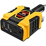 100W Car Power Inverter, MoKo [Ultra Compact] DC 12V to 110V AC Converter Adapter, 5V/2.4A Dual USB Ports Battery Charger for iPhone X / 8 / 8 Plus, MacBook, iPad Pro, Chromebook, Galaxy S8 and etc.