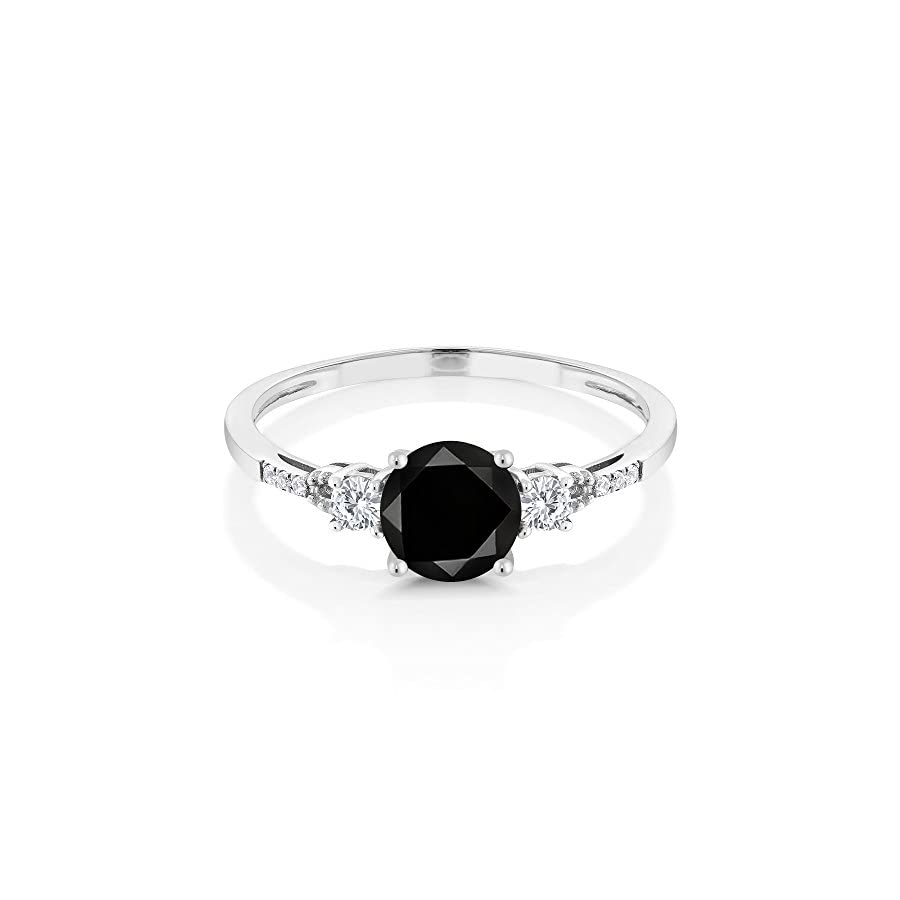 10K White Gold Diamond Accent Three stone Engagement Ring set with Black Diamond White Created Sapphire 1.20 cttw (Available 5,6,7,8,9)