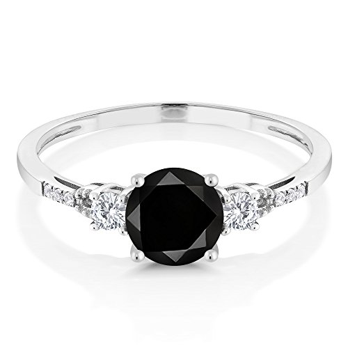 10K White Gold Diamond Accent Three stone Engagement Ring set with Black Diamond White Created Sapphire (1.20 cttw, Available in size 5, 6, 7, 8, 9)