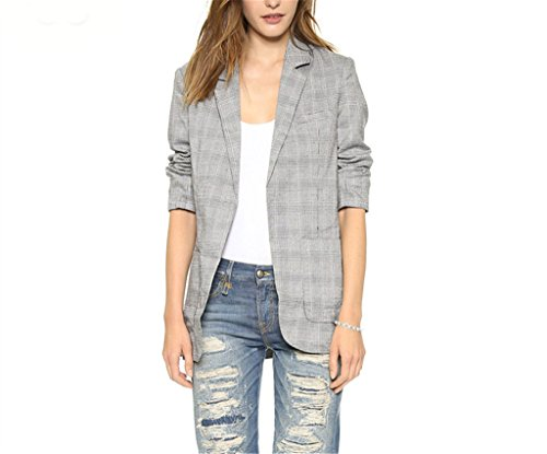 VIGVOG Women's Boyfriend Slim Fit Plaid Open-front Blazer Jacket W Pocket
