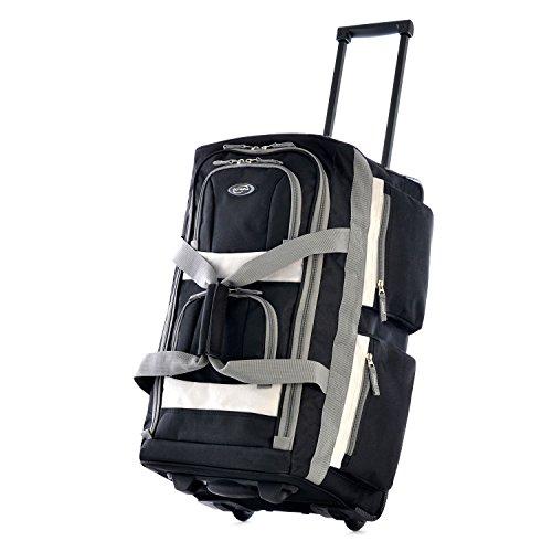 悔い改める矩形過剰ブラックCarry On Duffelバッグ、軽量、回転、スポーツバッグ、ポリエステル素材