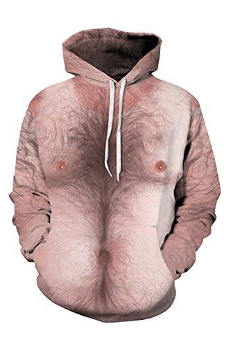 KAKALOT Unisex Realistic Mens Naked Print Halloween Hooded Hoodie Sweatshirt S -