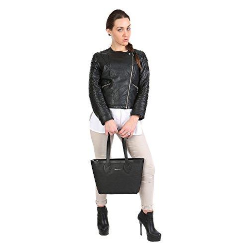 Trussardi Borsa Shopping Piccola a Mano da Donna con Ampi Manici Vera Pelle di Vitello in Dollaro – 32x23x10 Cm – Mod. 76B110M Nero