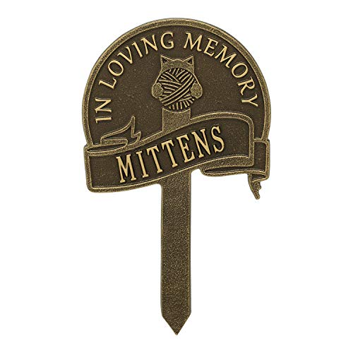 (Whitehall Cat with Yarn Personalized Pet Memorial Yard Sign - Remembrance Grave Marker and Garden Stake - Antique Brass)