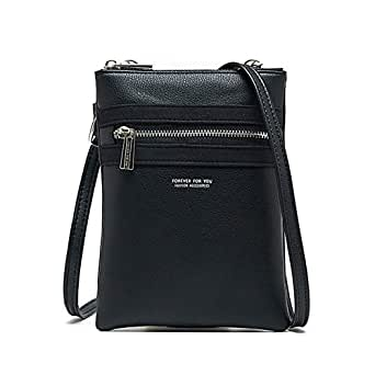 Small Crossbody Bag Mini Cell Phone Purse Wallet Casual Functional Multi Pocket For Women Black Size: One Size