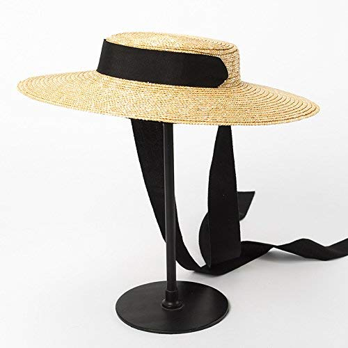 GONGFF Hat Summer Beach Sun Hat for Women Ladies Wheat Straw Hat with Ribbon Ties OSFM 001 Black RibbonBeach Hats Wide Brim Floppy Packable Adjustable