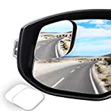 WildAuto Blind Spot Mirror for Trucks,HD Glass Frameless Convex Rear View Mirror,360° Adjustable Stick-on Side View Spot Mirror