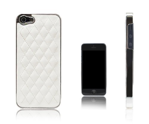 Quilted Effect (Xcessor Quilted CS Chrome and Leather Effect Hard Plastic Case for Apple iPhone SE / 5S / 5 (White /)