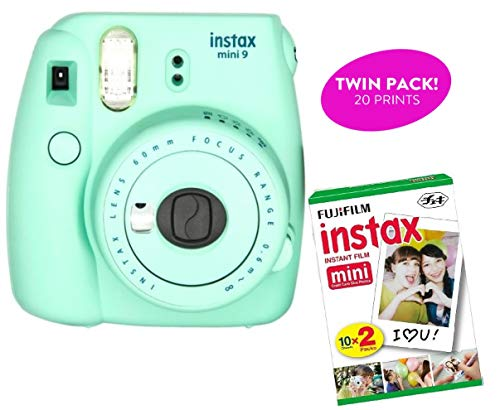 Fujifilm Instax Mini 9 Instant Print Camera (Renewed) Plus Twin Pack of Film Starter Bundle | 10 Sheets x 2 = 20 White Frame Instant Exposure Photograph Sheets (Mint Green)