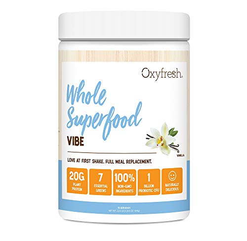 Vegan Protein & Plant Based Meal Replacement Shake - Pea Protein - Probiotic - Full Serving of Greens - Non GMO - 15 Servings - Oxyfresh Vibe Vanilla