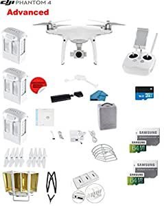 DJI Phantom 4 ADVANCED Quadcopter Drone with 1-inch 20MP 4K Camera KIT + 3 Total DJI Batteries + 2 64GB Micro SDXC Cards + Reader + Snap on Prop Guards + Range Extender + Charging Hub + Remote Harness