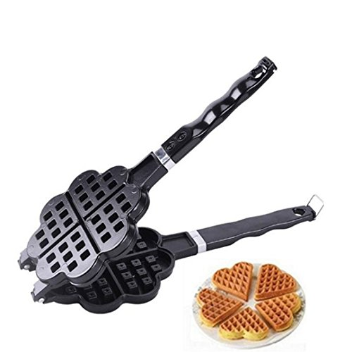 Belgian Pan Waffle Pancake Maker - Flip Double Side Plates Iron Non Stick Stainless Steel - Anti Overflow Design, Ice Cream Waffle Cone Egg Roll Bubble Maker - Dishwasher Safe Ease Clean Up Is Breeze (Cream Maker Ice 240v)
