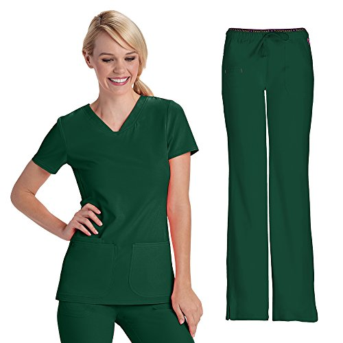 HeartSoul Women's 20710 Pitter-Pat Shaped V-Neck Top & 20110 HeartBreaker Drawstring Pant Medical Uniform Scrub Set (Hunter - Medium)
