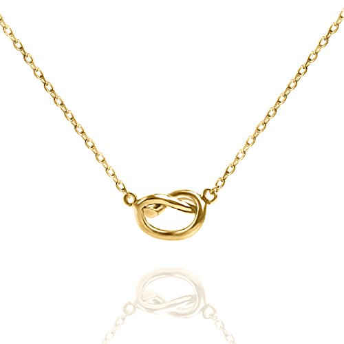 PAVOI 14K Yellow Gold Plated Infiity Love Knot Necklace Pendant - Yellow