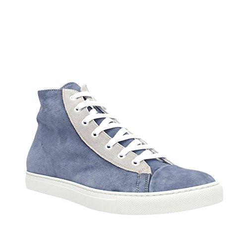 Lancio Nouveau Mens Bleu / Gris Daim Haut Haut Sneaker Bleu / Gris