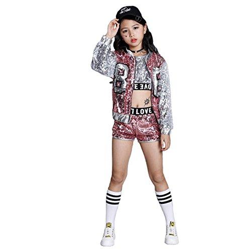 Girls Paillette Glitter Dancewear Hip Hop Jazz Sequin Dance Clothing Set