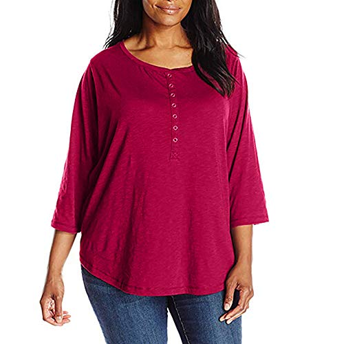 GOVOW Plus Size Clothing for Women Clearance Solid Casual O-Neck 3/4 Sleeve Botton Shirt -