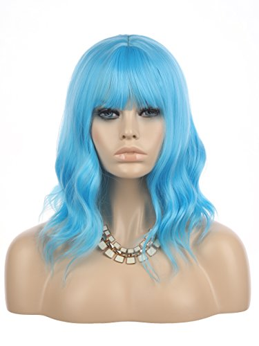 eNilecor Blue Wig Short Curly Bob Wigs with Air Bangs 14