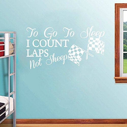 EvelynDavid To Go To Sleep I Count Laps - Wall Decals Quotes Wall Stickers Kids Room Home Decor