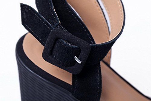 AmoonyFashion Womens Frosted Buckle Open Toe High Heels Solid Sandals Black S47IwGsMYm