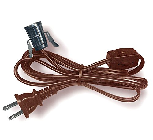 Lamp Cord Has Clip-In Socket, End Plug And Rotary Switch. 6 Ft. Brown (Set Of 50) by National Artcraft