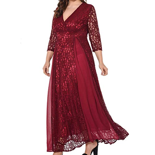 Toimothcn Women Plus Size 3/4 Sleeve Lace Dress Casual Loose Deep V-Neck Wedding Evening Party Dress(Red,XL) -