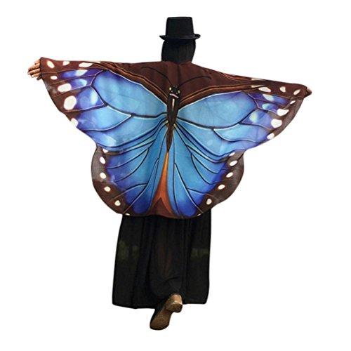 zolimx Moda mujer mariposa de alas chal suelto ligero Kimono chaqueta superior camisa blusa Azul C