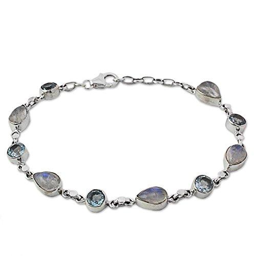 - NOVICA Multi-Gem Rainbow Moonstone .925 Sterling Silver Link Bracelet, 8.25