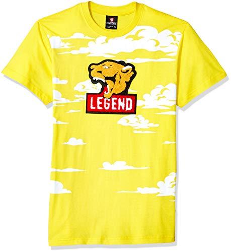- Southpole Men's Chenille Patch T-Shirt, Cyber Yellow Print, Medium
