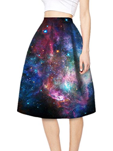 YICHUN Femme Jupe Plisse Court Jupon A-Line Jupe de Plage Impression Jupe de Soire Skirt Shorts Mini Robe Galaxie 18#