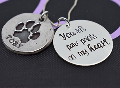 Actual Paw print necklace, you left paw prints, Silver, Pet memorial, Dog Paw - Cat nose print - hand print - Necklace - Jewelry - Hand cast from image