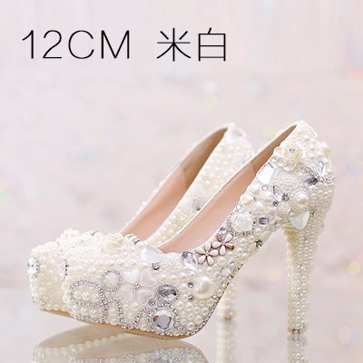 Red Pink Super Crystal Customized White Heel Shoes Pearl Sandals Beige VIVIOO Wedding Beige Pure Shoes Women Waterproof 7 Higher Shoes Prom 12Cm Diamond 5 High Heeled aqZApFw