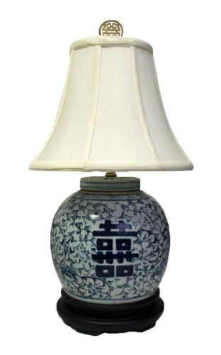 23H Double Happiness Blue and White Porcelain Ginger Jar Table Lamp
